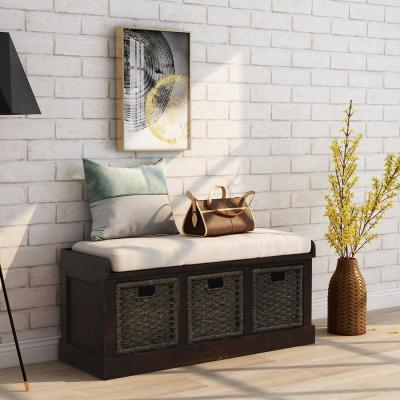 Espresso Entryway Storage Bench with Removable Cushion and 3-Removable Classic Fabric Basket