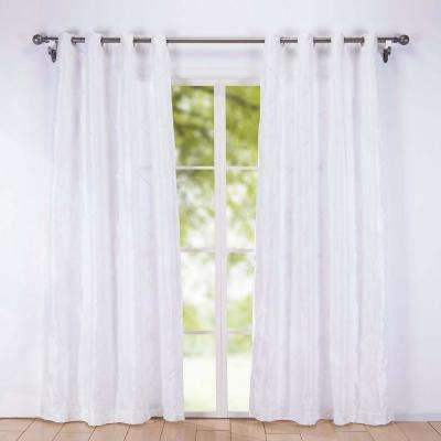 2-Pack Embroidered Rhombic Pattern Window Curtains 54 in. x 84 in. in Pearl