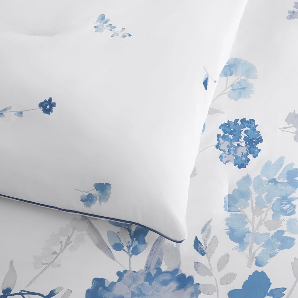 Loriana 3-Piece Blue Engineered Floral Comforter Set