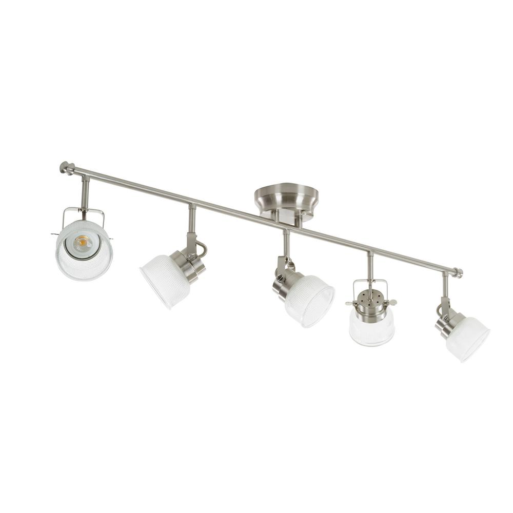 Alsy Alsy 4 ft. 5-Light Brushed Nickel Integrated LED Fixed Track Lighting Kit Bar