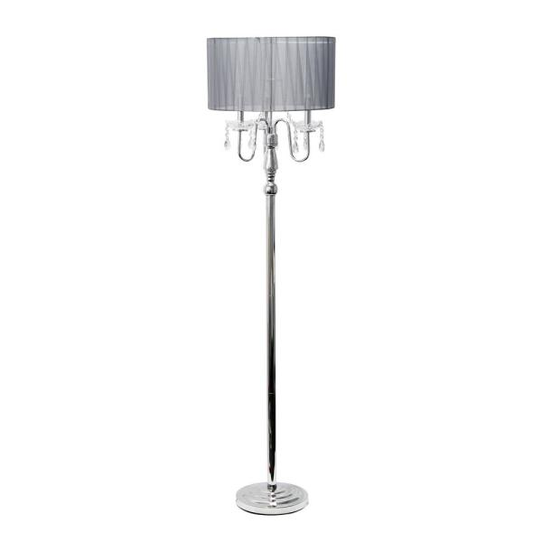 61.5 in. Gray Romantic Cascading Crystal and Chrome Floor Lamp