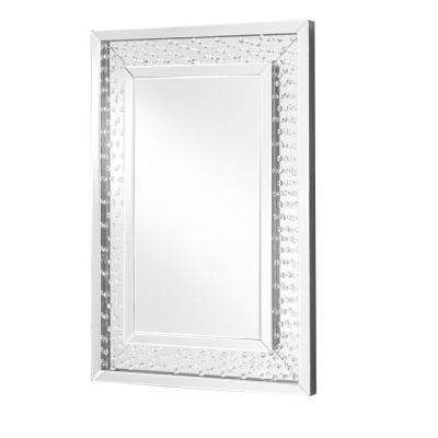Emory 24 in. Contemporary Crystal Rectangle Mirror with Clear MDF Frame, Rectangle Shape, Mounting Type: D Ring