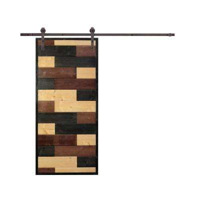 36 in. x 84 in. Mosaic Wood Lacquer Stained Solid Wood Interior Barn Door with Dark Coffee Hardware Kit