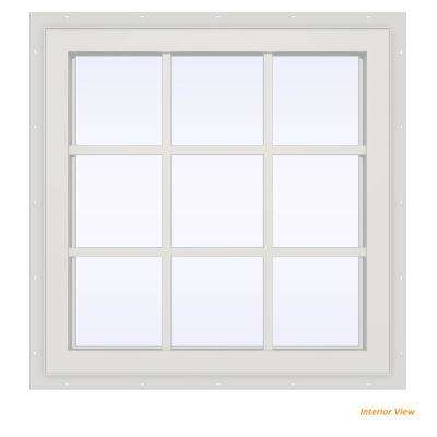 35.5 in. x 23.5 in. V-4500 Series White Vinyl Fixed Picture Window with Colonial Grids/Grilles