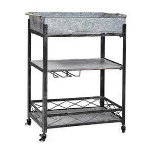 ''Daisy'' Galvanized Bar/Serving Cart 26¾ in. x 13¾ in. x 31 in.