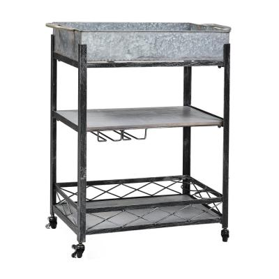 """""""Daisy"""" Galvanized Bar/Serving Cart 26¾ in. x 13¾ in. x 31 in."""