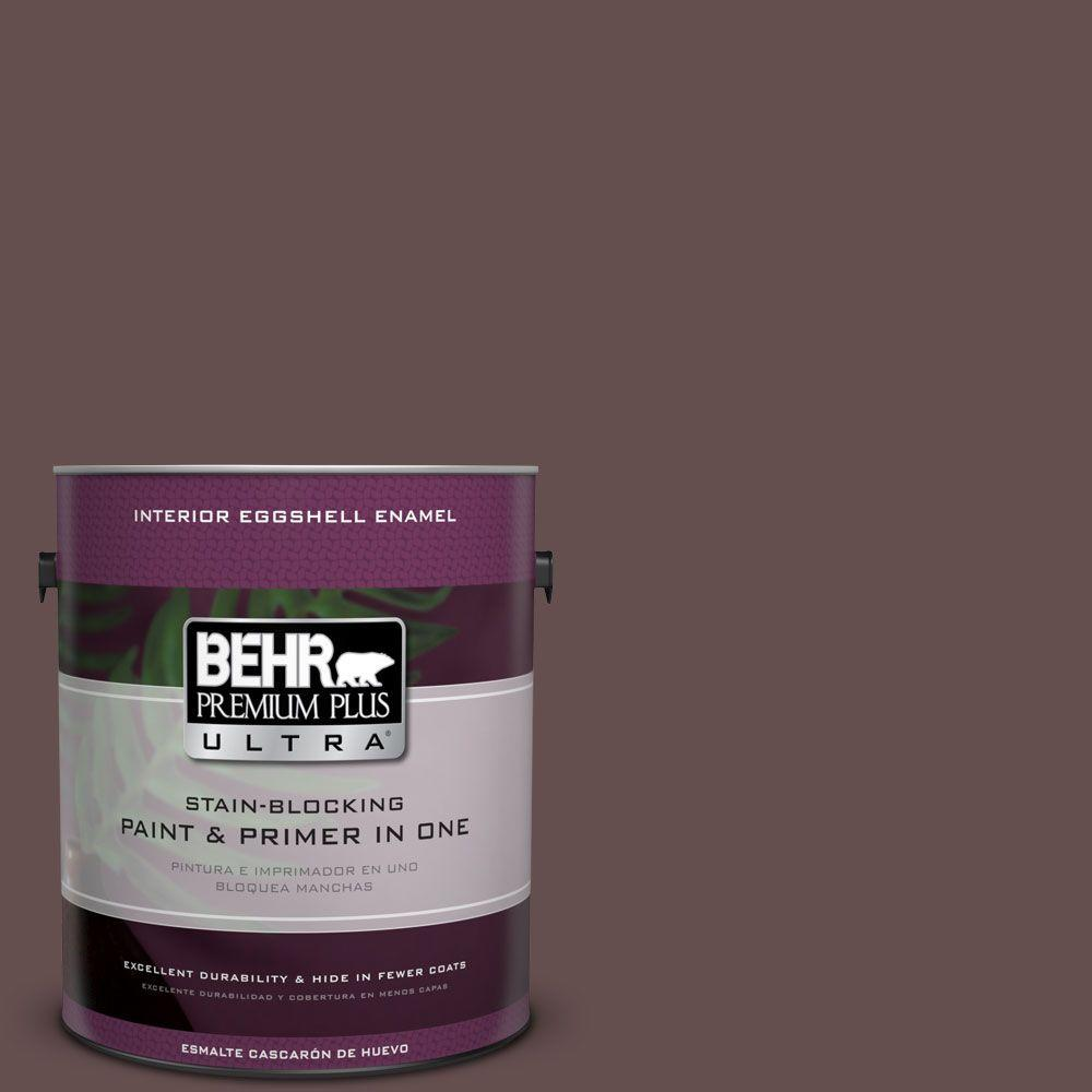 BEHR Premium Plus Ultra 1 gal. Home Decorators Collection #HDC-CL-13A Library Leather Eggshell Enamel Interior Paint & Primer