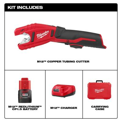 M12 12-Volt Lithium-Ion Cordless Copper Tubing Cutter Kit with 1.5 Ah Battery, Charger and Hard Case