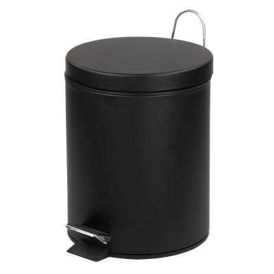 1.32 Gal. Stainless Steel Matte Trash Can with Black
