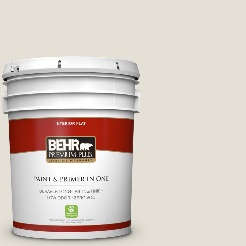 BEHR Premium Plus 5-gal. #ECC-15-2 Light Sandstone Zero VOC Flat Interior Paint