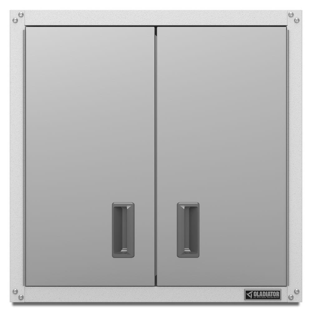 Gladiator Ready To Emble 28 In H X W 12 D Steel Garage Wall Cabinet White Gawg28fvew The Home Depot
