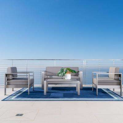 Cape Coral Sliver 4-Piece Aluminum Patio Conversation Set