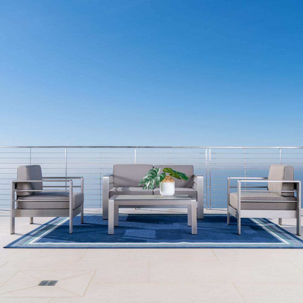 NobleHouse Noble House Cape Coral Sliver 4-Piece Aluminum Patio Conversation Set