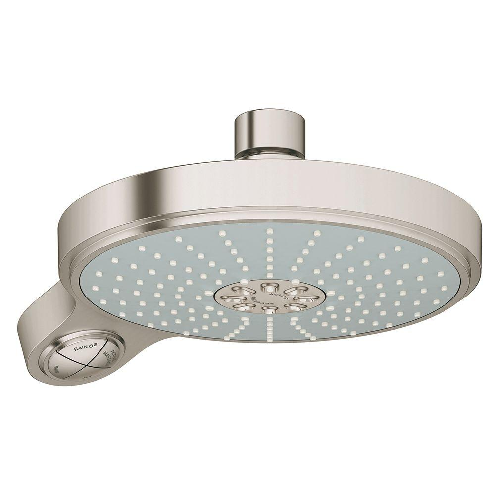 Power&Soul Cosmopolitan 4-Spray 7-1/2 in. Showerhead in Brush Nickel