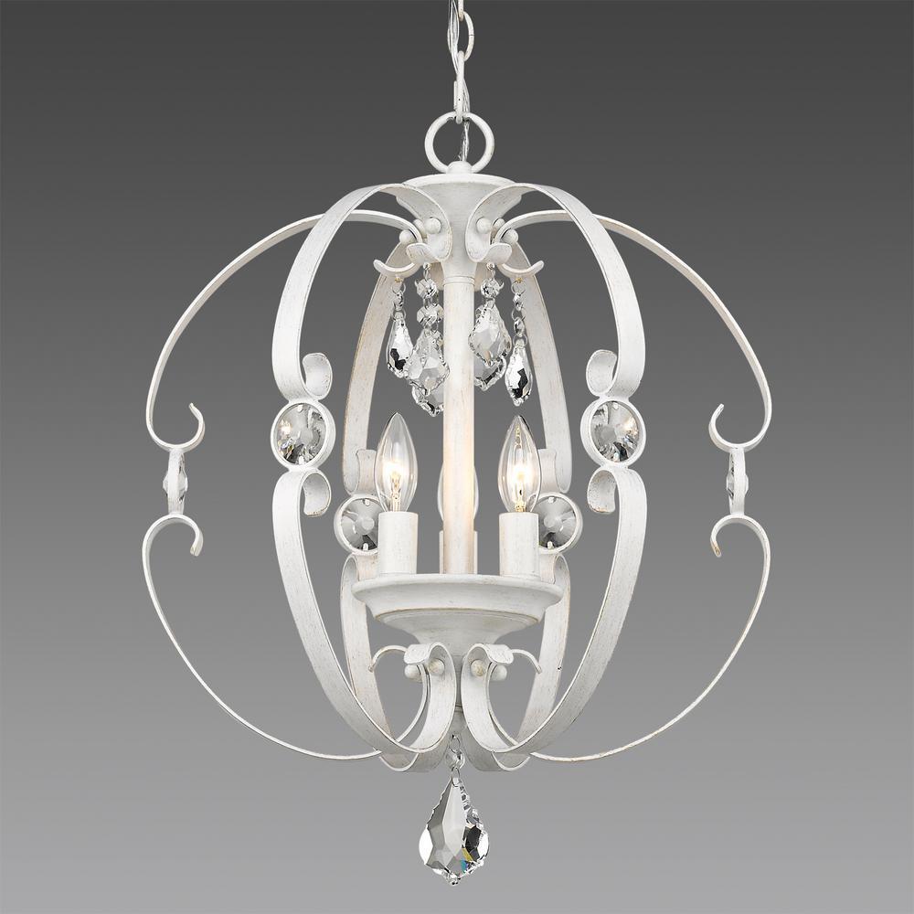 Ella 3-Light French White Pendant Light