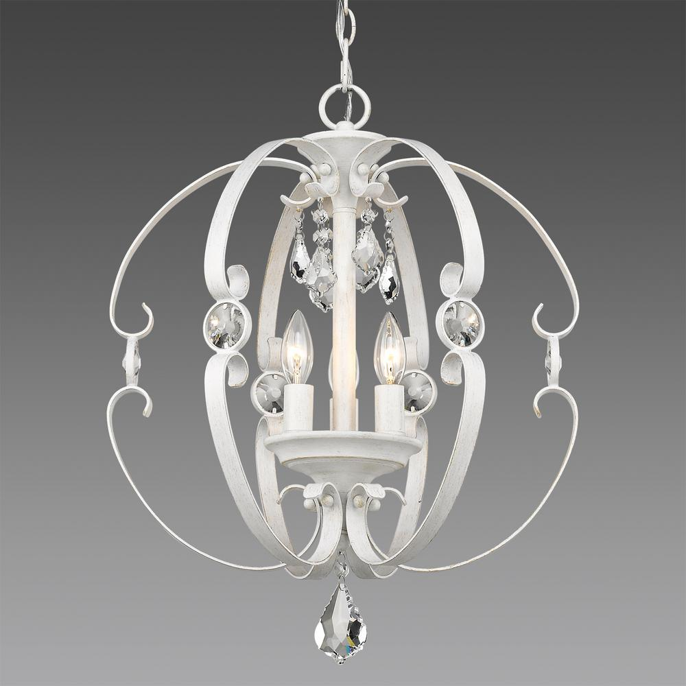 Ella 3-Light French White Pendant Light