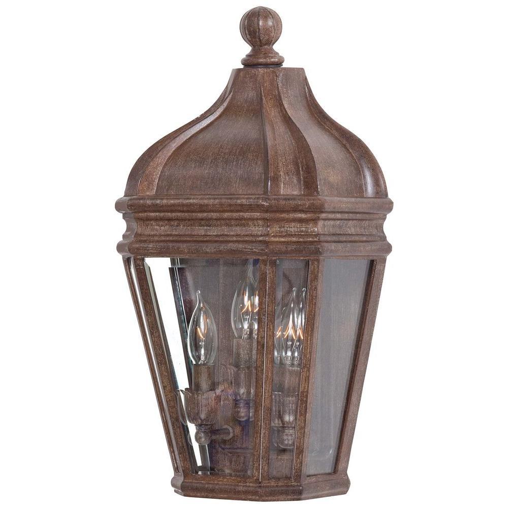 Harrison 3-Light Vintage Rust Outdoor Pocket Lantern