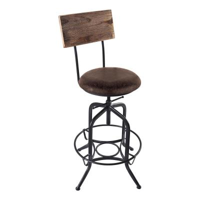 Damian 25-30 in. Brown Fabric and Industrial Gray Finish Adjustable Bar Stool