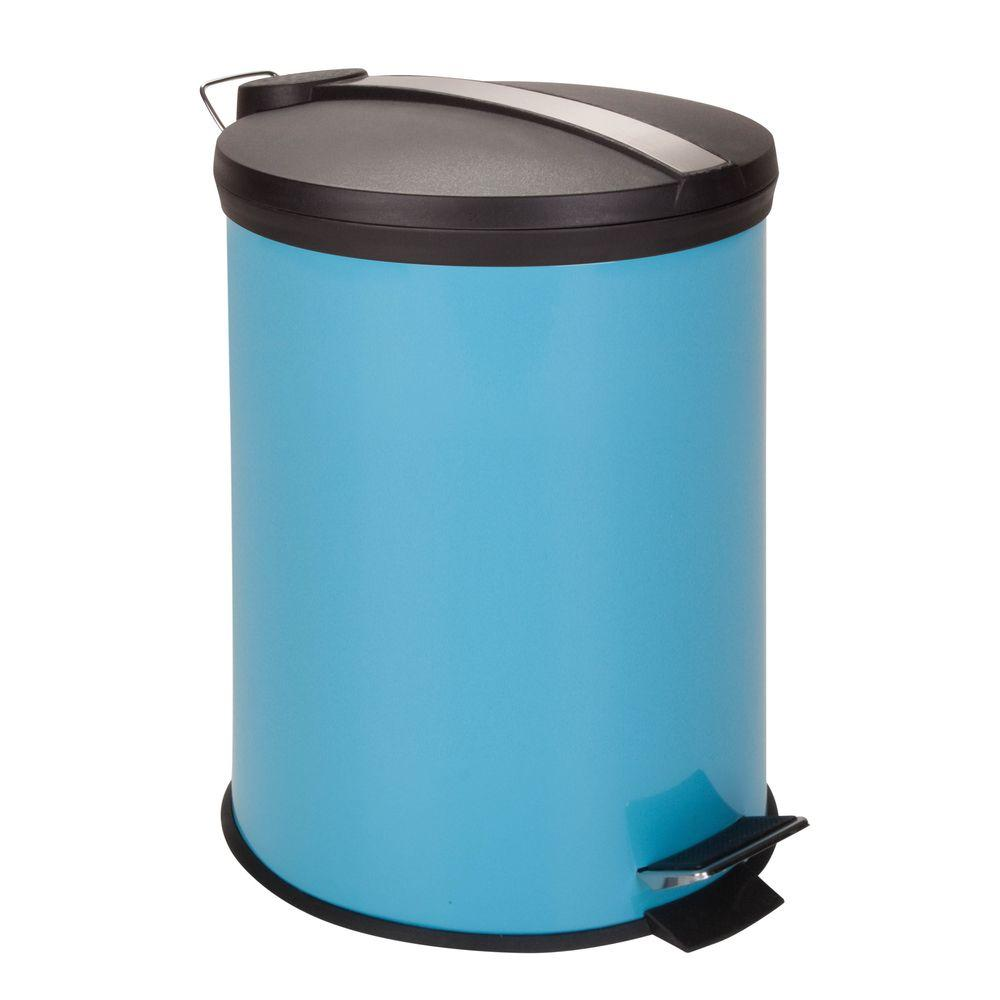 Honey-Can-Do 3 Gal. Blue Round Metal Step-On Touchless Trash Can