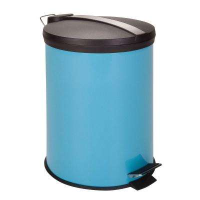 3 Gal. Blue Round Metal Step-On Touchless Trash Can