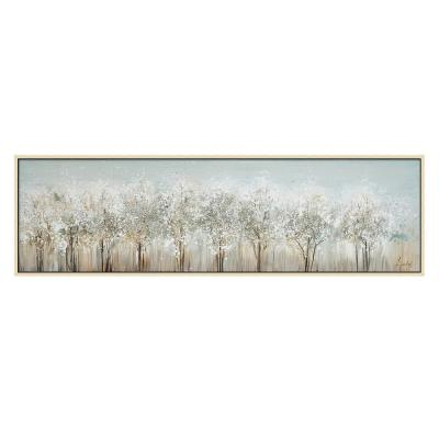 """""""White Trees in. Hand Painted Acrylic Wall Art Wooden Floating Frame 71 in. x 20 in."""
