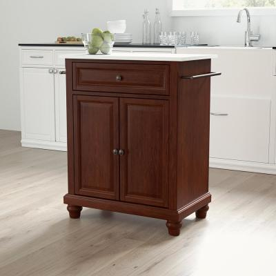 Cambridge Mahogany Portable Kitchen Cart/Island with Granite Top