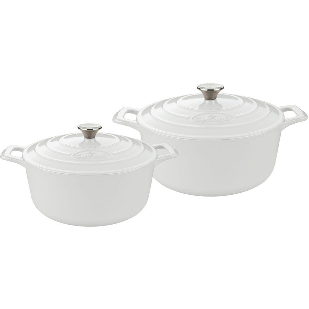Cast Iron Round Casserole Set with Enamel Finish in White (4-Piece)