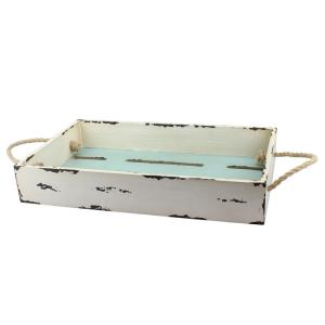 11 in. x 3 in. Wooden Tray with Rope Handles