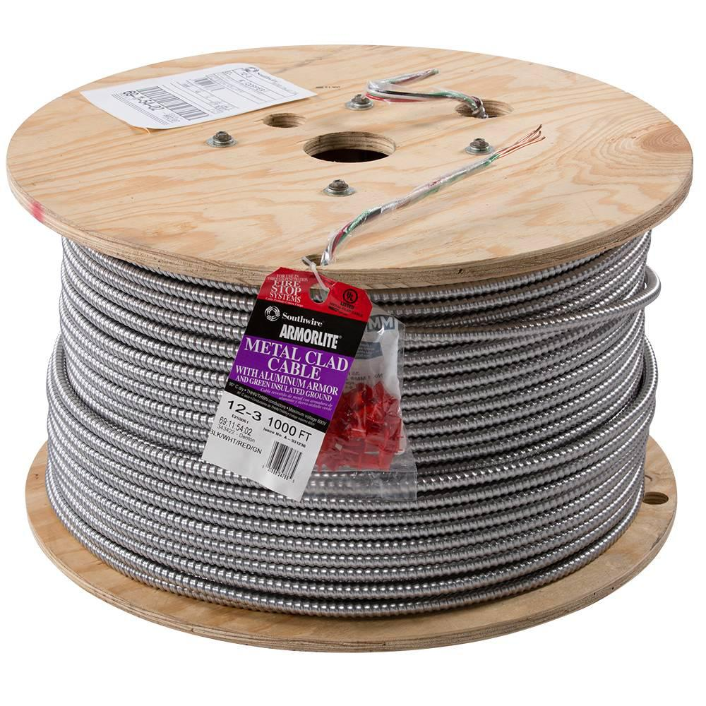 Southwire 12 3 X 1 000 Ft Stranded Cu Mc Metal Clad Armorlite Cable 69115402 The Home Depot