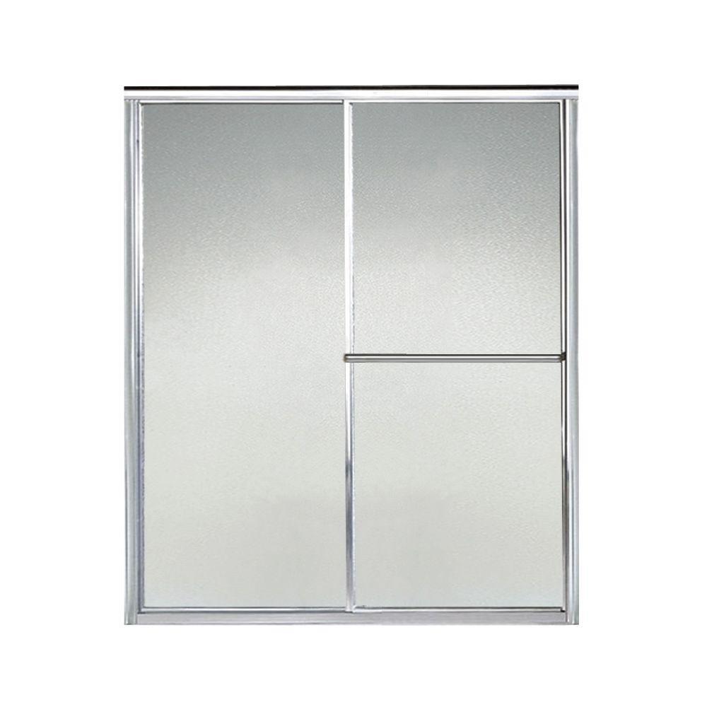Deluxe 59 in. x 65-1/2 in. Framed Sliding Shower Door in Silver with Handle