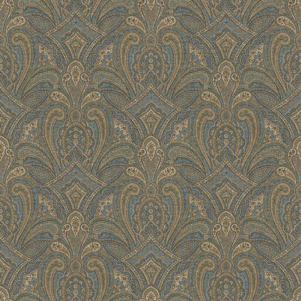 Navy Paisley Rug: Chesapeake Barnes Navy Paisley Damask Wallpaper-MAN01663