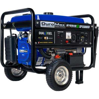 5500/4500-Watt 7.5 HP Dual Fuel Gasoline/Propane Electric Start Powered Portable Generator with Wheel Kit