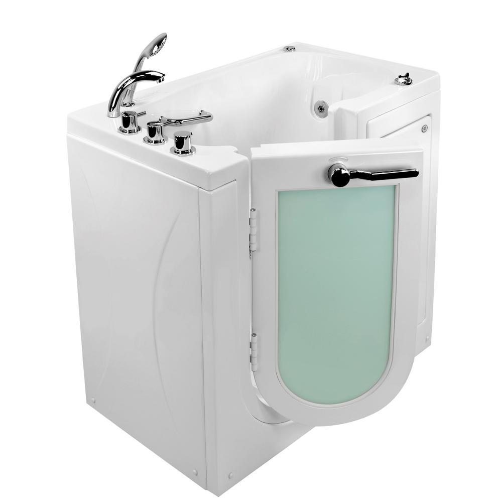 Ella Mobile 45 in. Walk-In Whirlpool and Air Bath Bathtub in White, LH Outward Swing Door, Digital, Heated Seat,LH Dual Drain