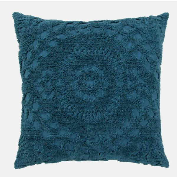 Rio Collection in Floral Design teal Euro 100% Cotton Tufted Chenille Sham