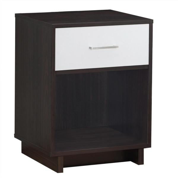Ameriwood Home Smithfield Espresso and Vintage White Nightstand