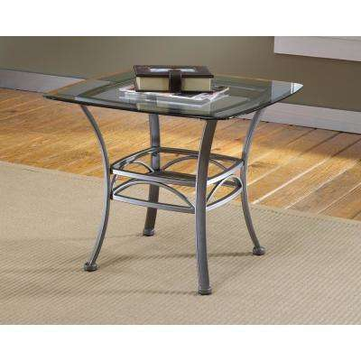 Abbington Dark Pewter Glass Top End Table