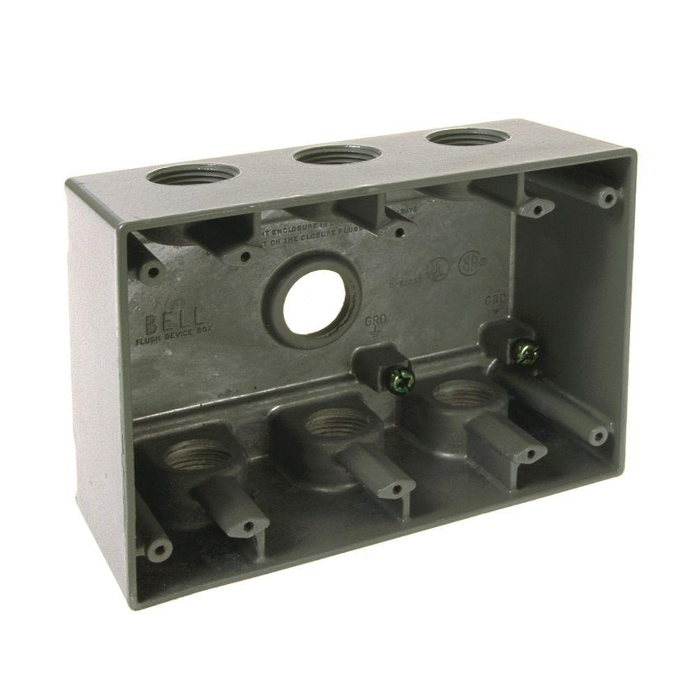4 4 Weatherproof Electrical Box: BELL 3 Gang Weatherproof Deep Box With Seven 3/4 In