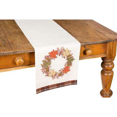 0.2 in. x 13 in. x 36 in. Maple Wreath Fall Table Runner