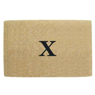No Border 30 in. x 48 in. Heavy Duty Coir Monogrammed X Door Mat