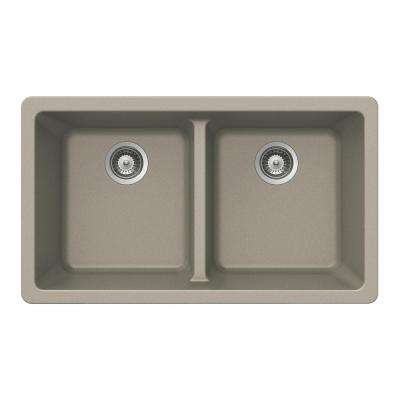 Quartztone Undermount Composite Granite 33 in. Double Bowl Kitchen Sink in Taupe