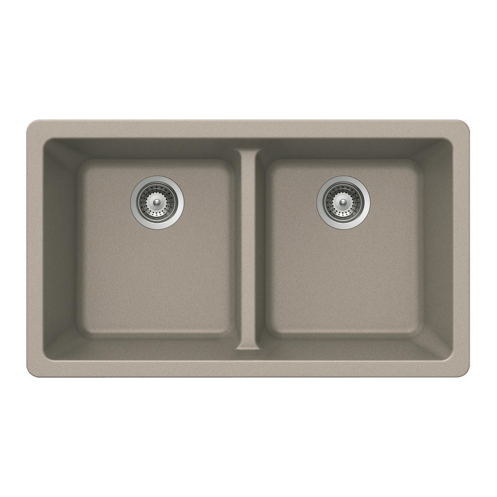 Quartztone Undermount Composite Granite 33 in. Double Bowl Kitchen Sink in Taupe