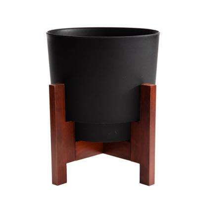Hopson Medium 16 in. Black Planter with Wood Stand
