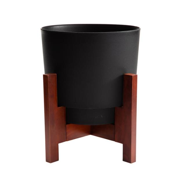 Hopson Large 16 in. Black Plastic Planter with Wood Stand
