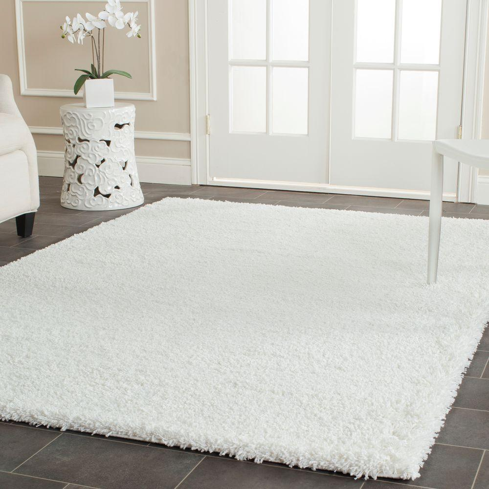 Safavieh california shag white 8 ft x 10 ft area rug for White area rug
