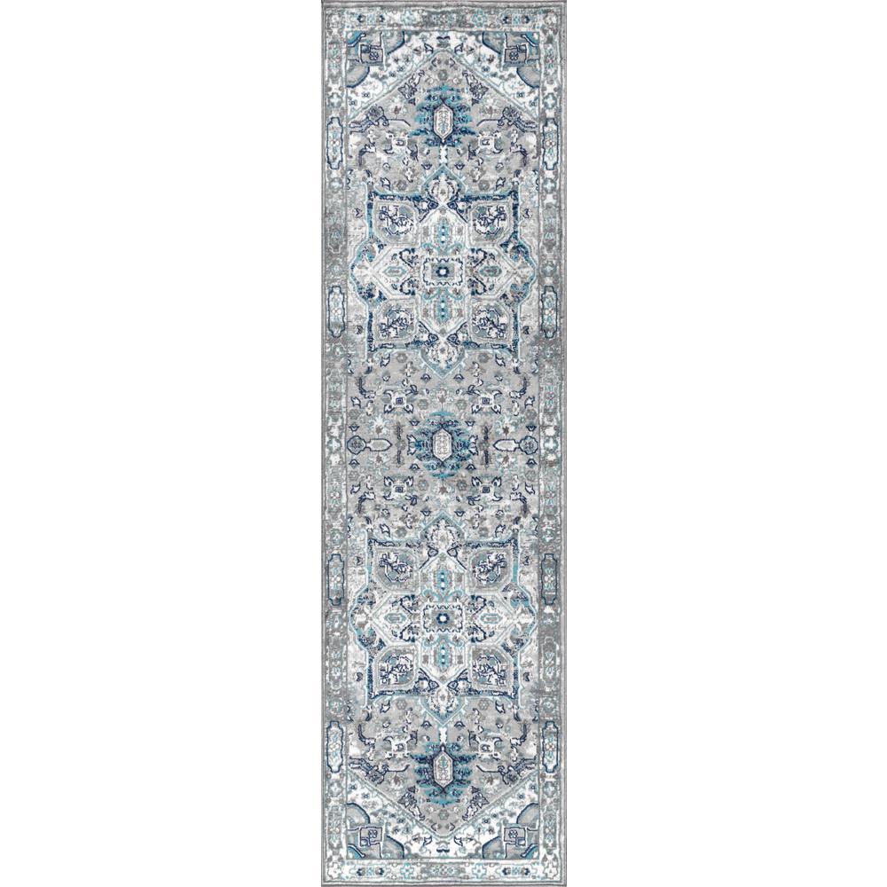 Modern Persian Vintage Medallion Light Grey/Blue 2 ft. x 8 ft. Runner Rug