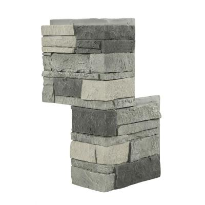 12 in. x 24 in. Stacked Stone Northern Slate Faux Stone Siding Outside Corner Panel