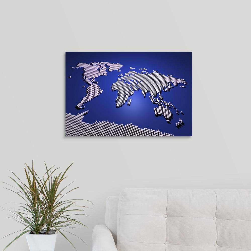 Greatbigcanvas World Map In Blue By Michael Tompsett Canvas Wall