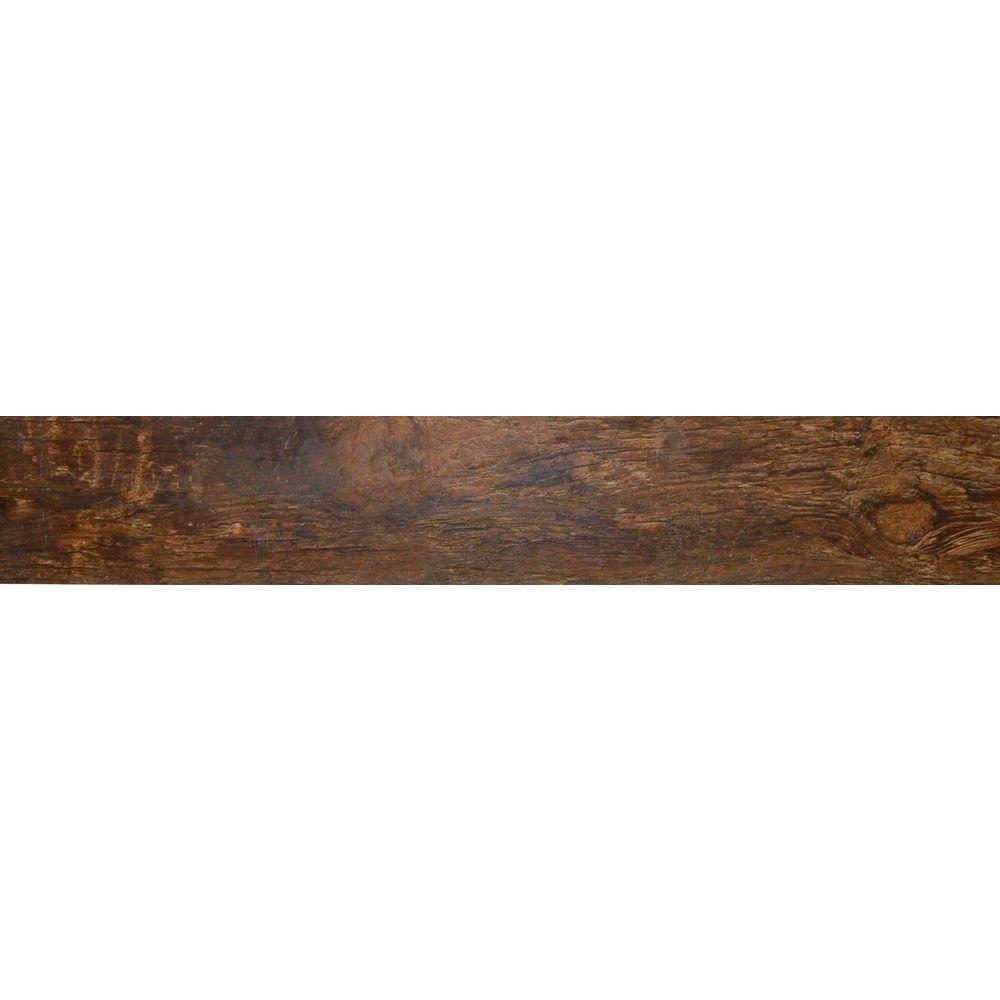 Msi Redwood Mahogany 6 In X 24 In Glazed Porcelain Floor
