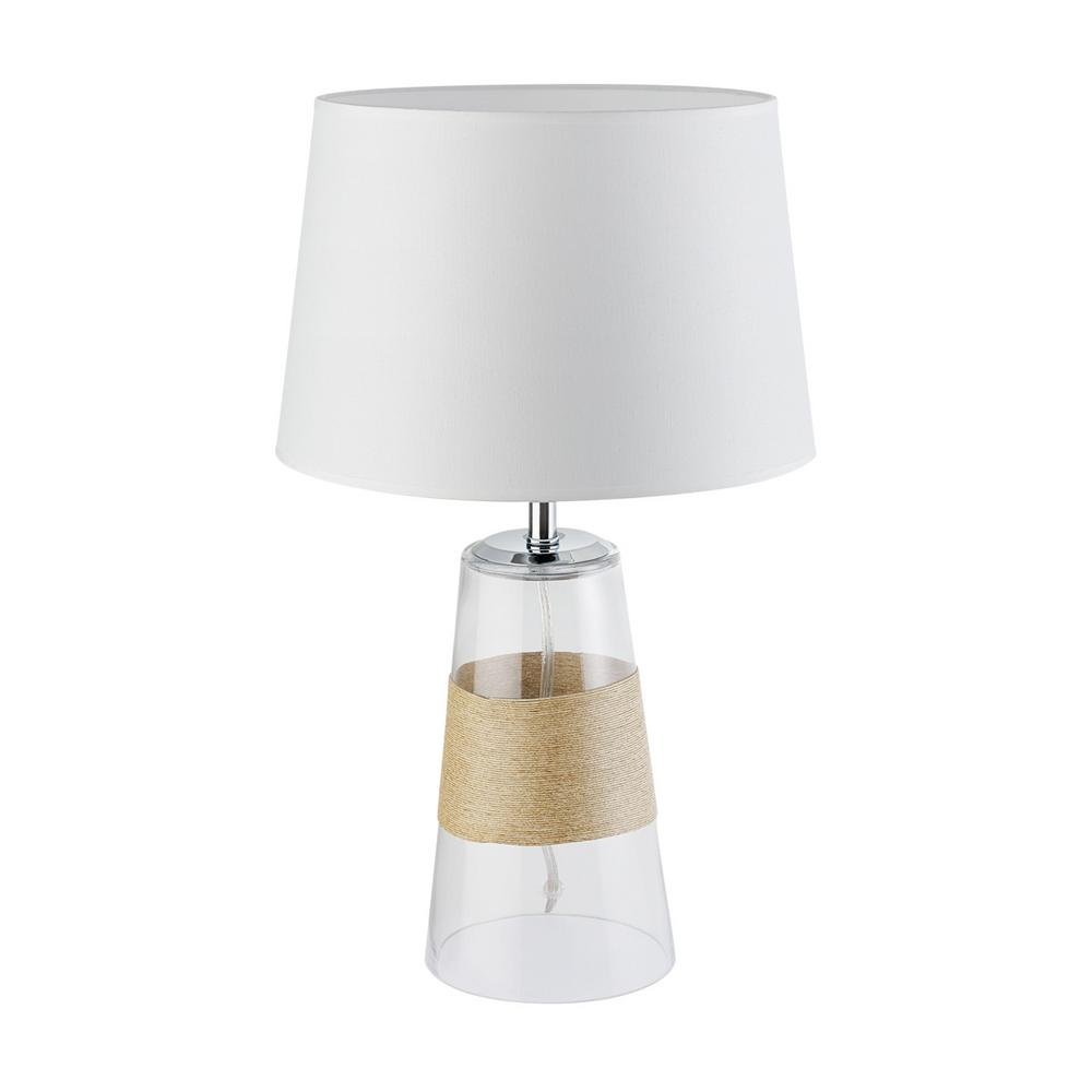 Natura 20 in. Natural Twine Accent, Clear Glass Body Table Lamp