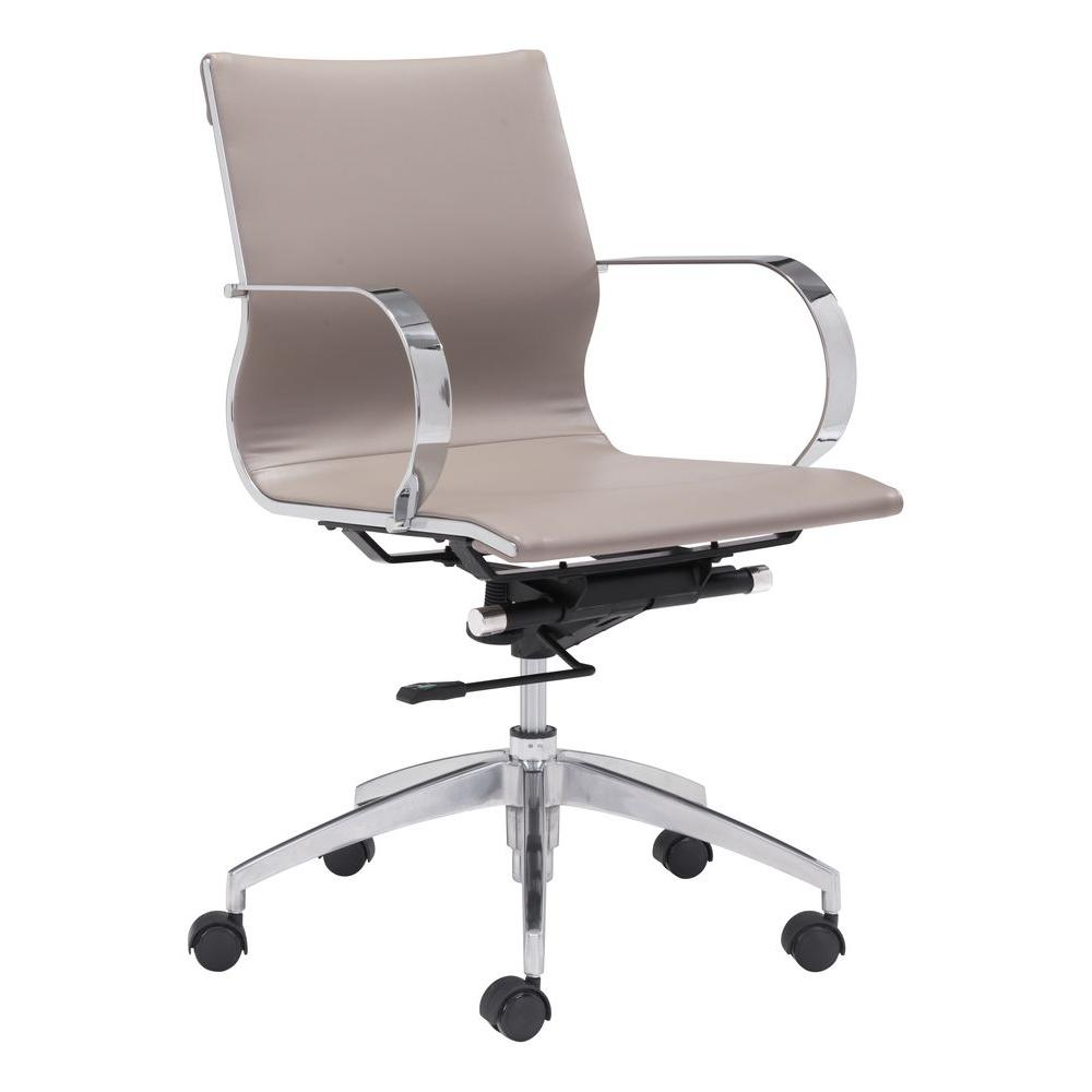 Zuo Glider Taupe Leatherette Low Back Office Chair